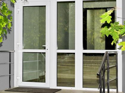 Входная группа из профильной системы Rehau Brillant-Design с одностворчатой дверью